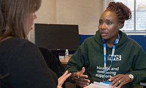 Grenfell witness Lucy Wood during her PTSD screening session with outreach team member Sandra Ifidon Osagiede