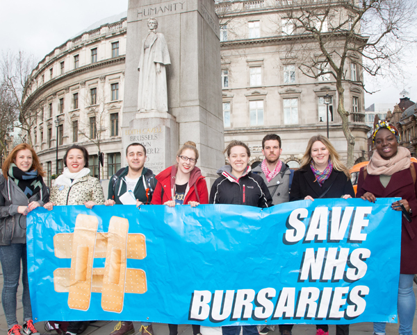 Left to right: Sophia Koumi - RMN from King's Student Union, Jenny Leo - OT student at LSBU, Anthony Johnson - adult student nurse, Marina Down - MH nursing student from King's, Helen Corry, Chris Newlove - supporter, Fiona Edwards from the Student Assembly against Austerity and Barbara Ntumy - student supporter from London Met. Picture credit: Barney Newman