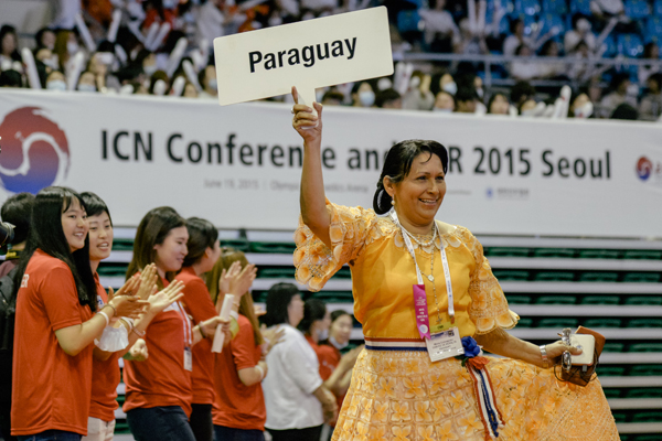 Delegate from Paraguay at the opening ceremony of the International Council of Nurses 2015