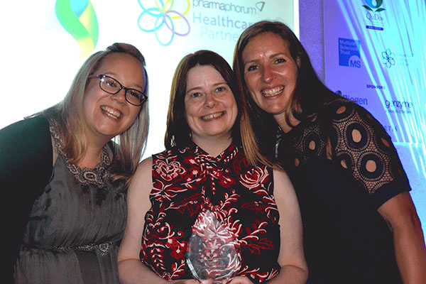 Liz Watson (centre) was named multiple sclerosis specialist nurse of the year at the first ever MS awards.