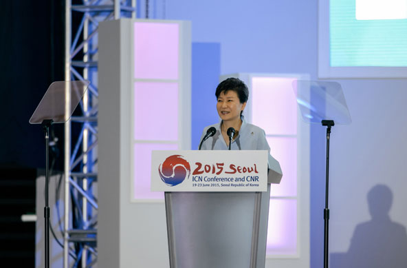 South Korean president Park Geun-hye makes a congratulatory speech during the opening ceremony of ICN 2015 Seoul.