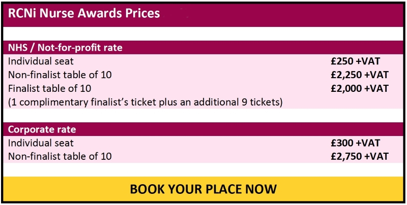 Nurse Awards 2018 ticket prices