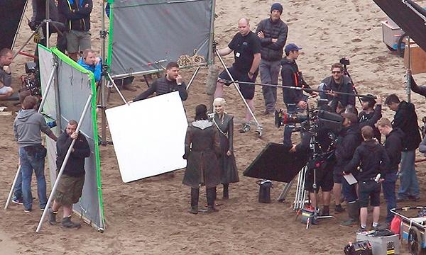 Emilia Clarke (centre) on set of Game of Thrones