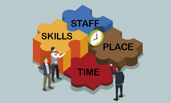Figures gathering around giant jig saw tile pieces that read: SKILLS, STAFF, PLACE, TIME